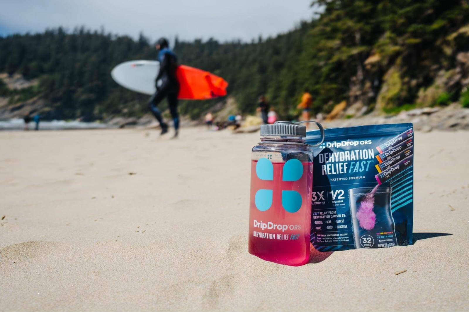 How to cool down: DripDrop ORS pack and tumbler on the beach