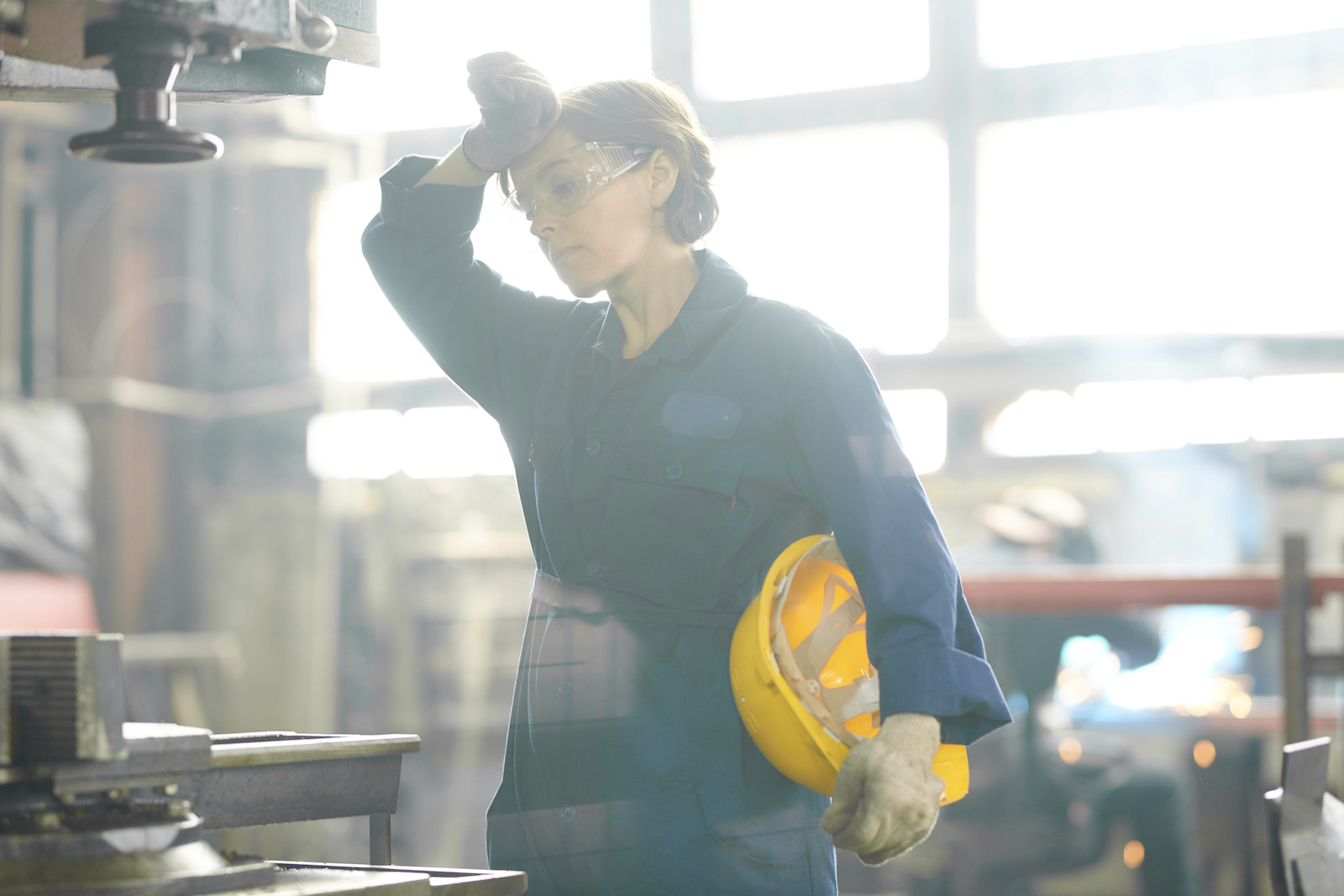 does coffee count as water: factory worker wiping her sweat